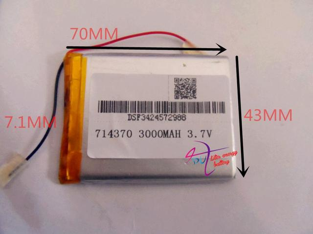 tablet battery Size 714370 3.7V 3000mah tablet battery with Protection Board For Tablet PCs PDA Power Bank