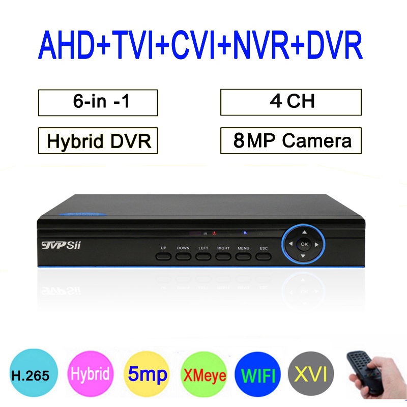 Hi3521D 8mp 4K H.265+ Bule Panel XMeye 4CH 4 Channel Hybrid Coaxial WIFI 6 in 1 XVI TVI CVI NVR AHD CCTV DVR