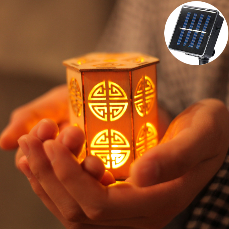 Led Luminaria 20 Style chinois en bois lanterne chaîne lumières batterie solaire décor chaîne de lampe à Led noël Patio guirlande navidad