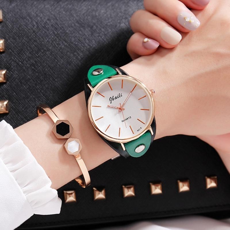 JBAILI Brand Women's Watches Fashion Leather Wrist Watch Women Watches Ladies Watch Clock relojes para mujer Montre Feminino