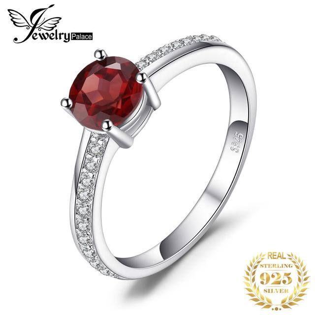 JewelryPalace Classic Round 1.3ct Red Genuine Garnet White Topaz Solitaire Engagement Ring For Women 925 Sterling Silver Jewelry