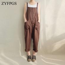 ZYFPGS 2019 New Autumn Rompers Brown Classic Womens Jumpsuit Pocket Women Bodysuit Jeans Playsuit Long Fashion Z0917