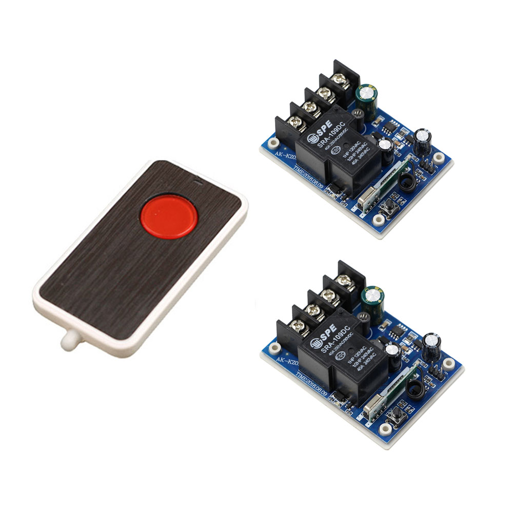 DC 12V 24V 36V 48V 40A 1CH RF Wireless Remote Control Switch Relay Receiver Transmitter LED Lamp Light Circuit Module 2pcs receiver transmitters with 2 dual button remote control wireless remote control switch led light lamp remote on off system