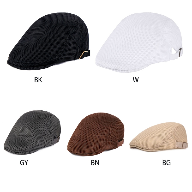 Mens Breathable Mesh Summer Duckbill Hat Newsboy Beret Ivy Cap Cabbie Flat Soft W15