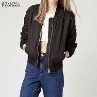 ZANZEA Women 2016 Autumn Winter Vintage Stand Collar Celeb Bomber Coats Long Sleeve Slim Jackets Casual