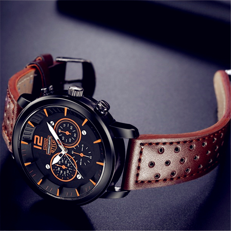 Sports Men Watch High Quality Brown Watchband Leather Clock Classic Business Male Quartz Wrist Watches Men's Precise Hour Assist 20mm buckle 16mm black brown high quality alligator leather watchband waterproof straps bracelets for brand luxury men watches