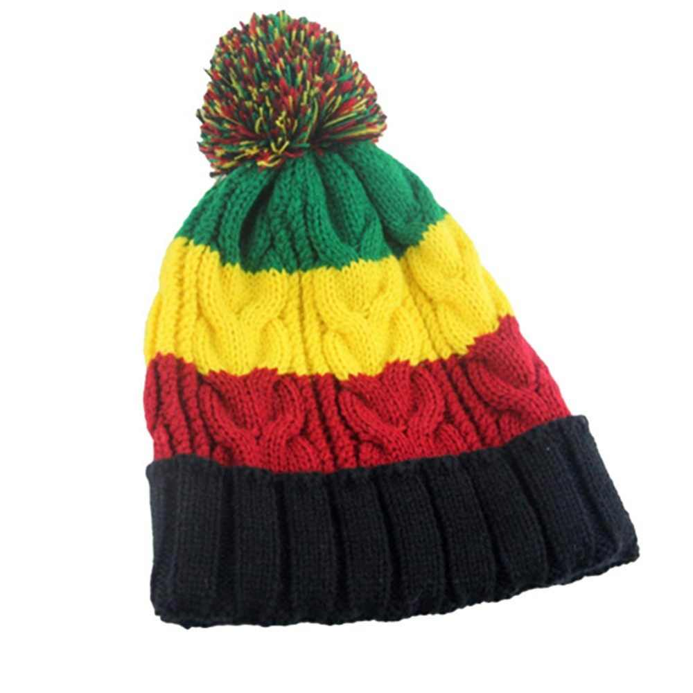 Cute Unisex Mixed Color Stripe Patterned Designer Warm Knitted Hat Beanie Winter