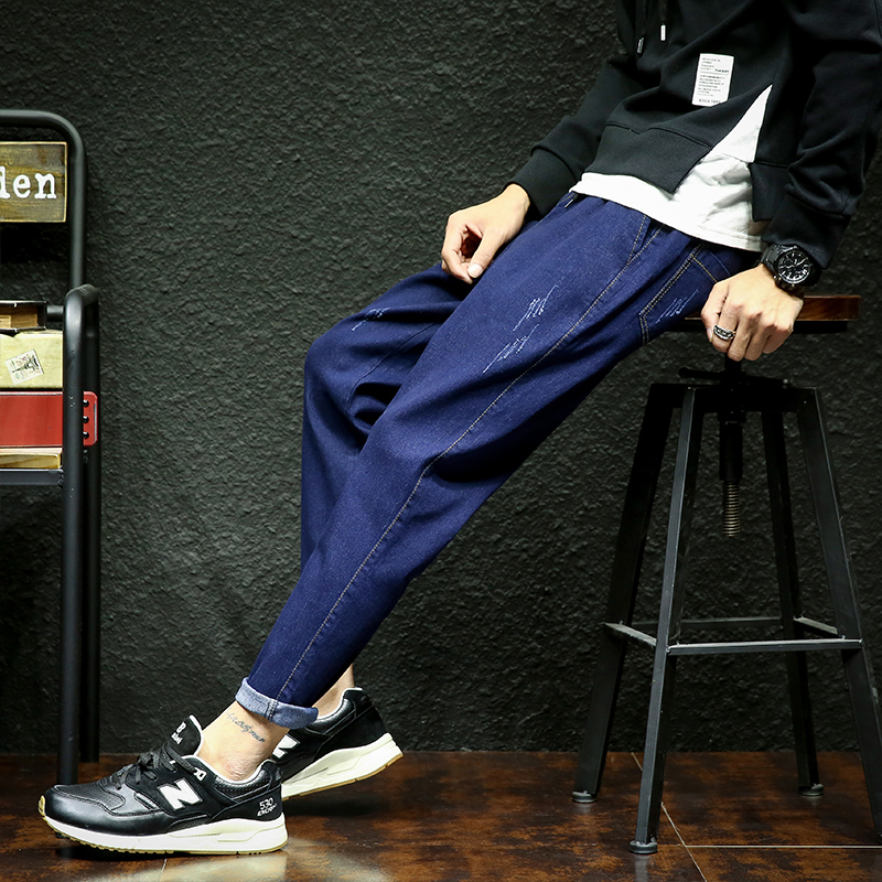 Fashion Casual Mens Jeans Spring And Autumn New M-5XL Large Size Solid Color Slim Trousers Black Blue Personality Youth Popular
