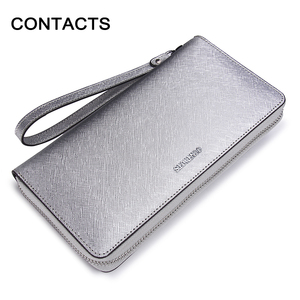 Image 2 - Contacts Brand Women Cow Leather Clutch Ladies Continent Purses Metalic Genuine Leather Wallets Cell Phone Holder Hot Sale
