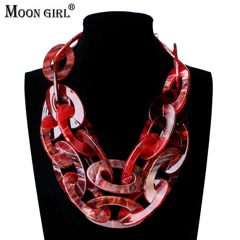MOON GIRL Double Layers Acrylic Link Chain Statement Necklace Maxi Choker Vintage Necklace Women Fashion Collares Big Collier