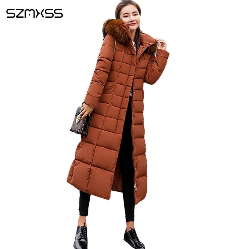 2018 winter neue lange mode Koreanische jacke frauen baumwolle parka große pelz kragen große größe winter mantel ropa invierno mujer-in Parkas aus Damenbekleidung bei  Gruppe 1