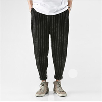 New Summer European And American Style Male Harem Pants Loose Cotton Striped Casual Harem Pants Fashion