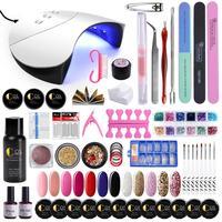 36W UV Lamp For Nails Set Tools UV Gel Kit Manicure Set UV Gel Nail Set Nail Art Kits For Manicure Pedicure Nail Extension Kit