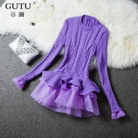 [GUTU] 2018 Korean autumn fashion new solid color lotus leaf round collar long sleeves knit sweater women V51400