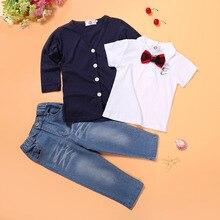 ФОТО children's clothing sets  baby boy suit kids suit set cotton long sleeve  shirts+ t-shirt+jeans 3 pcs/sets suit clothes