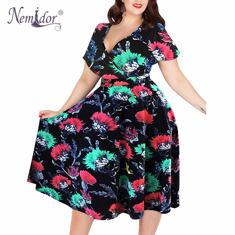 Dropwow Nemidor Women Sexy V-neck Short Sleeve 50s Party A-line ... 403ef9d10eec