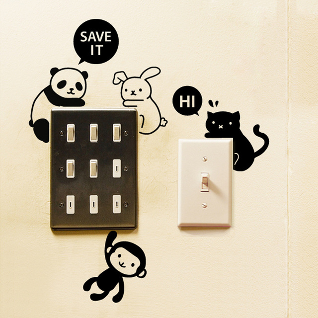 removable funny panda and money switch wall sticker cartoon animal