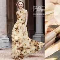 אופנתי מגנוליה פרח דפוס הדיגיטלי Sheer 100% Pure משי שיפון חומר שמלת החוף בקיץ/צעיף/צעיף 1 מטר