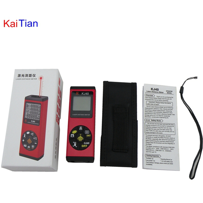 KaiTian 40M Laser Distance Meter with bubble level Rangefinder Range finder Tape measure wholesale OEM drill buddy cordless dust collector with laser level and bubble vial diy tool new