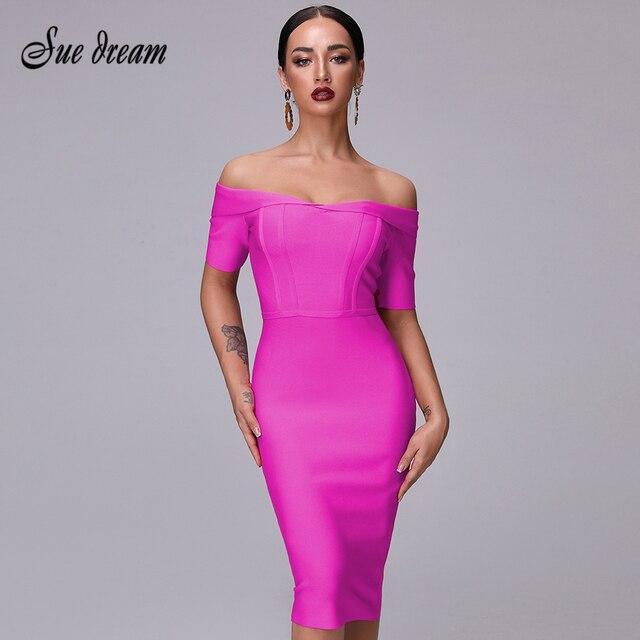 2020 נשים של קיץ סלאש אמצע מותניים עגל אופנה סגול Off כתף קצר שרוול סלבריטאים תחבושת מסיבת חג המולד שמלה