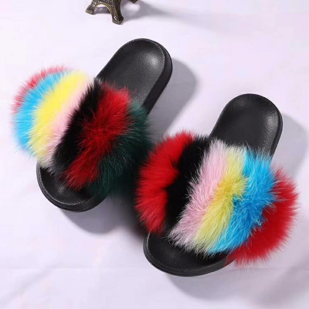 Ladies Fox Fur Slippers Plush Fox Hair Slippers Women s Natural Fox Fur Shoes Winter Warm