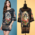 S-XXXL Abstract The Key Printing Temperament Of Restoring Ancient Ways Is Loose Long-sleeved Women Dress 2015 New Fashion Runway