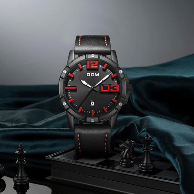 DOM Men's Casual Leather Business Calendar Date Display Waterproof Quartz Watches 1