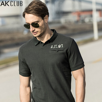 AK CLUB Men Polo Shirt Vintage Style Delicate Placket Pocket Polo Letter Print Short Sleeve Polo
