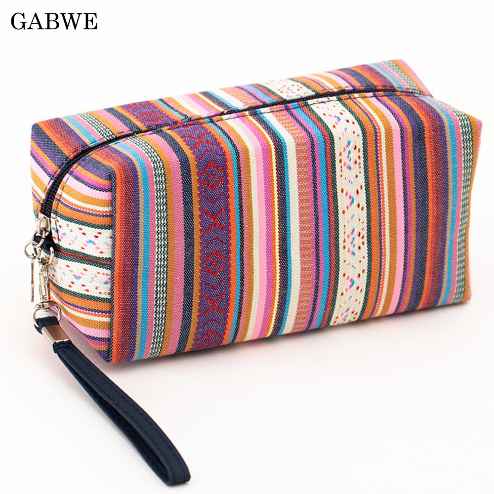 GABWE 4 Colors Women Vintage Cosmetic Bag Cotton Retro Makeup Bag Beauty Organizer Travel Pouch Necessarie Toiletry Wash Bag