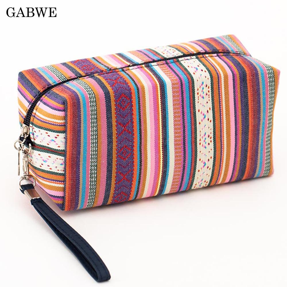 GABWE 4 Colors Women Vintage Cosmetic Bag Cotton Retro Makeup Bag Beauty Organizer Travel Pouch Necessarie Toiletry Wash Bag