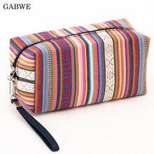GABWE, neceser Vintage de 4 colores para mujer, bolsa de algodón para maquillaje retro, neceser de viaje, neceser