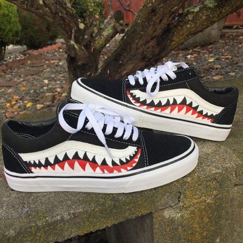 6d35c1d2f1 Vans X Bape Sharktooth Custom Bape SHARK MOUTHS Men Sneakers Canvas Sports  for Men 4VN000D3HY95 40 44-in Skateboarding from Sports   Entertainment on  ...