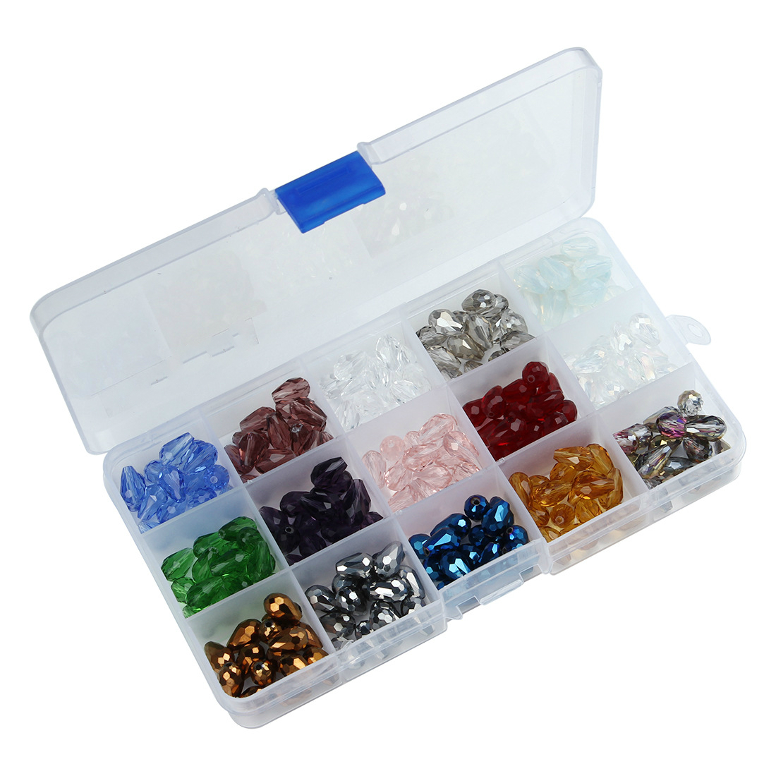 1 Box (225PCs) Multicolor Tear Drop Crystal Glass Loose Beads Faceted DIY Components 8x12mm (15 Colors)