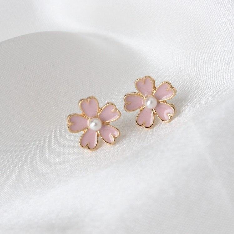 2020 Free Shipping Factory Direct Sale Japanese Style Art Fresh Fresh Pink Series Imitation Pearl Enamel Cherry Women Earrings