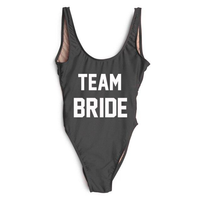BRIDE Women Swimwear ONE PIECE SWIMSUIT TEAM SQUAD Bathing Suit  Bachelorette Party Bodysuit Monokini Beach Wear Wedding Party-in Body Suits  from Sports ... ea6728924b17