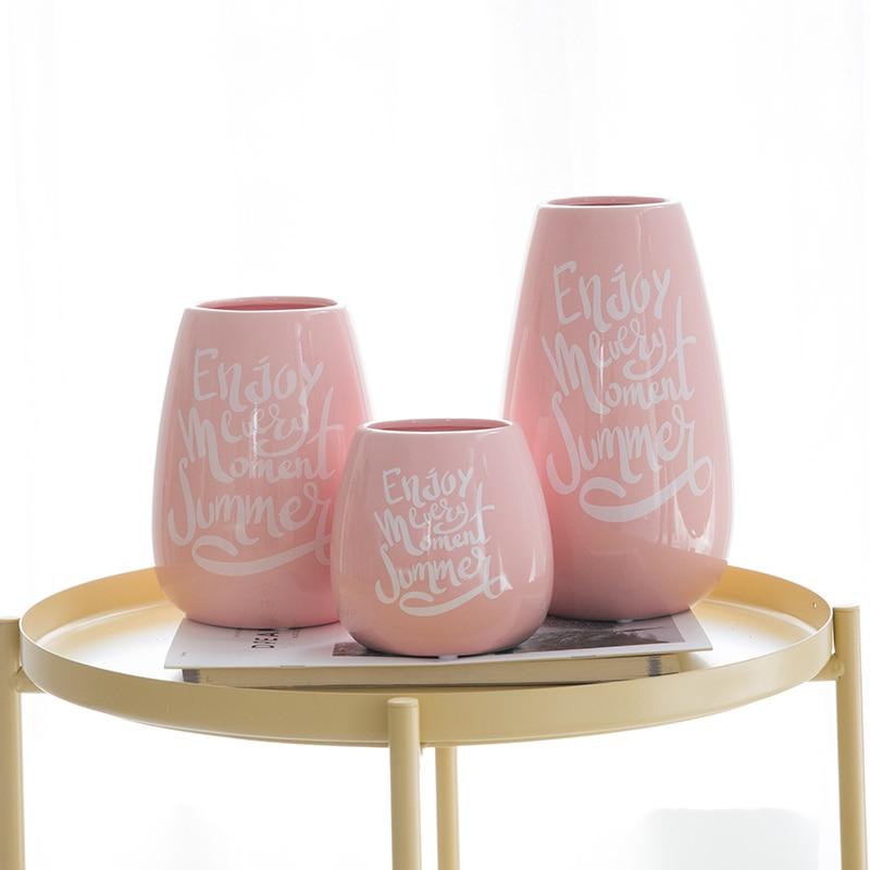 Set Of 3 Modern Ceramic Vase Pink Flower Vase English Letters