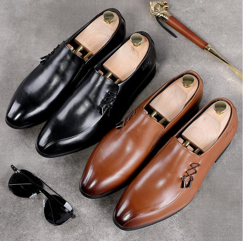 Dress shoes men slip on genuine patent leather pointed toes wedding shoe drawstring smart casual low heel height increasing shoe 2018 height increasing leather business men slip on dress shoes split leather wedding shoes for men size 38 43