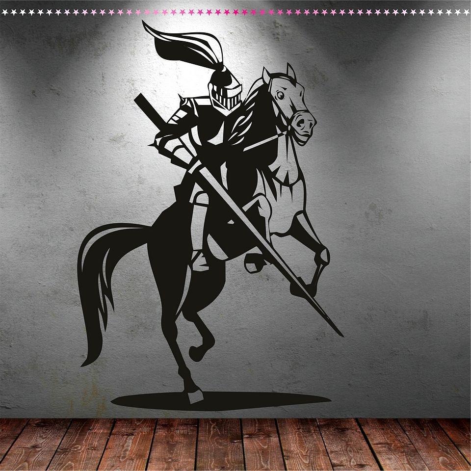 Autocollants muraux en vinyle chevalier et cheval disponibles en différentes couleurs sticker mural Design artistique papier peint amovible affiche SA992