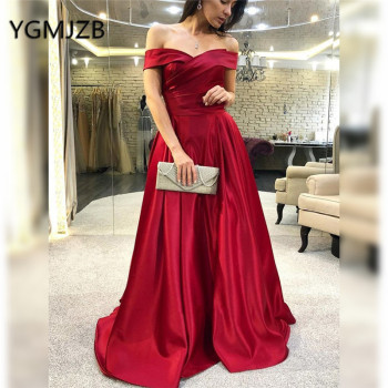 abendkleider 2019 Red Muslim Evening Dresses with Pockets A-Line Off Shoulder Prom Gown Saudi Arabic Women Formal Party Dress