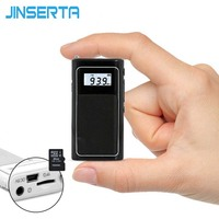 JINSERTA Pocket FM Radio Mini DSP FM Receiver Speaker MP3 Player with Lithium Battery Support TF Card Play