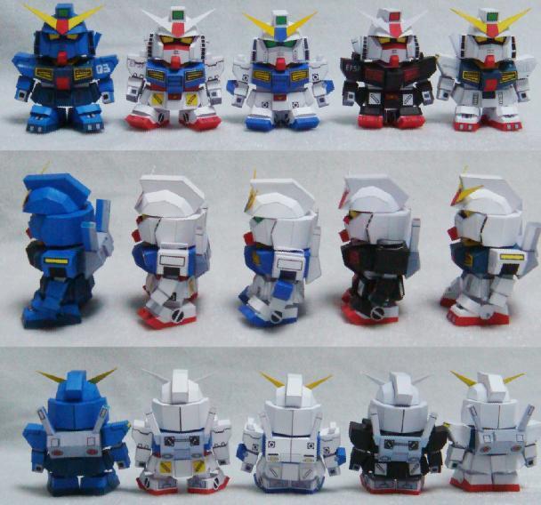 5pcs/set Gundam Paper Model (including 5) Papermodel