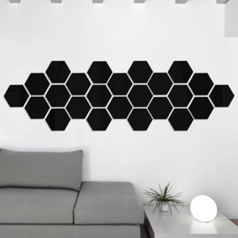 Nueva caja Hexagonal de 1 pieza de personalidad estereoscópica espejo decorativo pegatinas de pared decoración de sala de estar