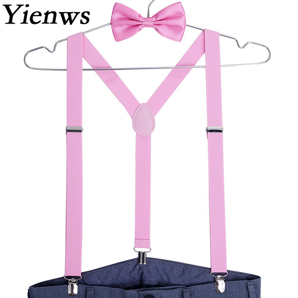Yienws Suspensorio Bow Tie Suspenders for Men Women Bowtie Braces for Trousers Pink Jartiyer Red Bretelles Pour Homme YiA001