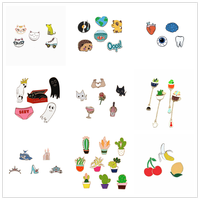 1 Set Metal Cartoon Badges for Clothes Cactus Brooch Badge Icons on Backpack Pins for Clothes