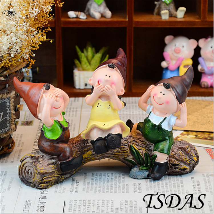 2016 Hot Sale Resin Crafts Do Not Look Listen Say Three No Resin Doll Pastoral Decoration