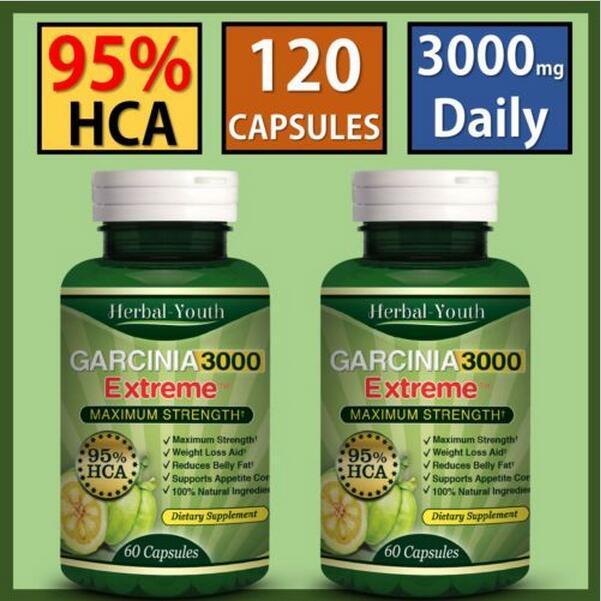 2 x BOTTLES - 3000mg Daily GARCINIA CAMBOGIA - 95% HCA Capsules Weight Loss slim