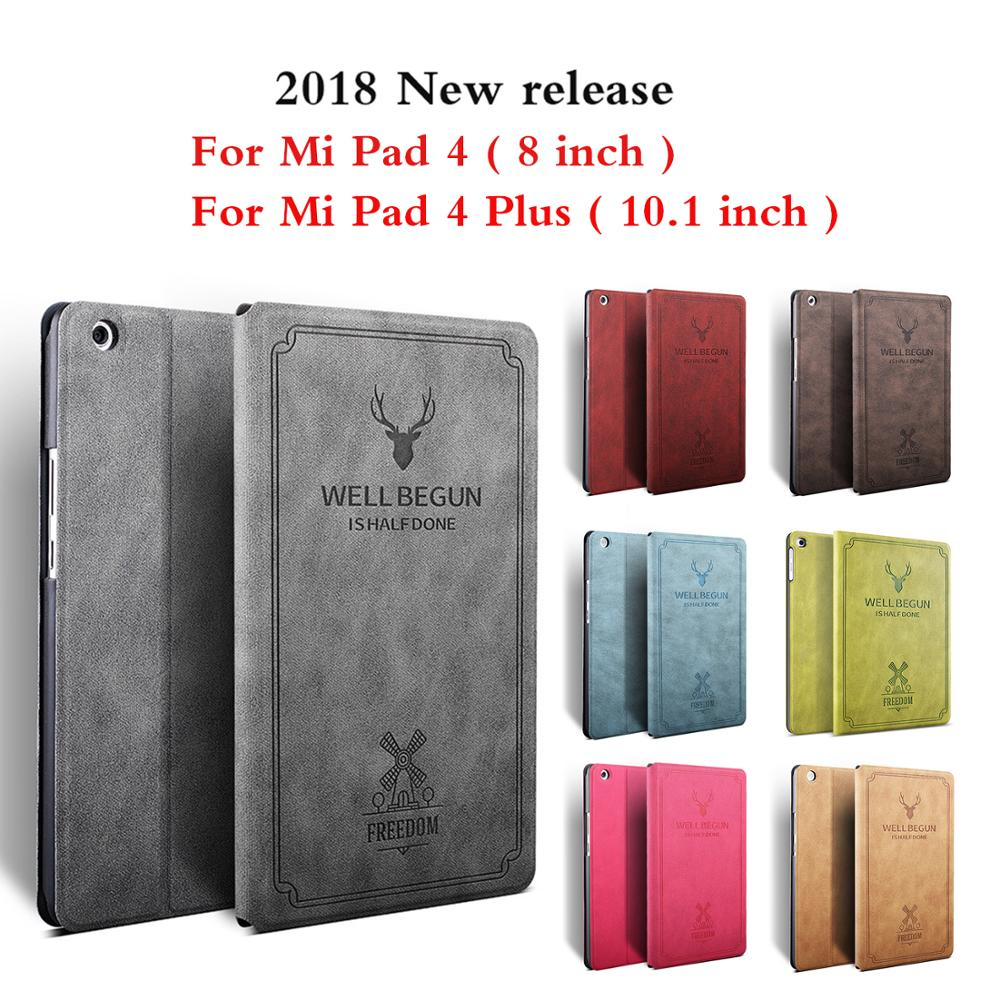 Case For Xiaomi Mi Pad 4,8 Inch Slim Retro Folding Stand PU Leather Smart Cover For Xiaomi Mi Pad 4 Plus 10.1 Inch Tablet Funda