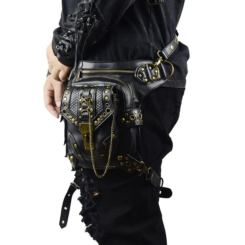 Steampunk Waist Pack Bag Retro Rock Gothic Fanny Bag Pack Shoulder Bag Vintage Men Women Leather