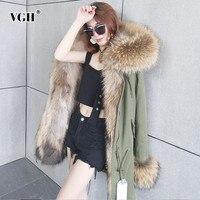 VGH зимнее пальто для женщин с длинным рукавом с меховой отделкой капюшона воротник тонкий регулируемый Талия молния дамское пальто модная н