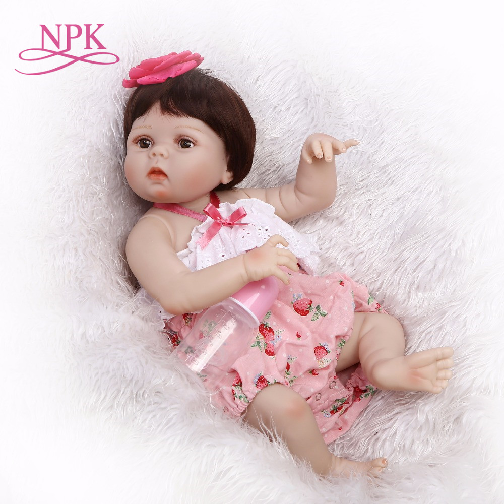 NPK full silicone vinyl reborn dolls 22inches50cm newborn doll Pink skirt alive baby girl child gifts toys hotsell New designNPK full silicone vinyl reborn dolls 22inches50cm newborn doll Pink skirt alive baby girl child gifts toys hotsell New design